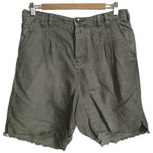 FREE PEOPLE Green Cargo Oversized Raw Hem Shorts
